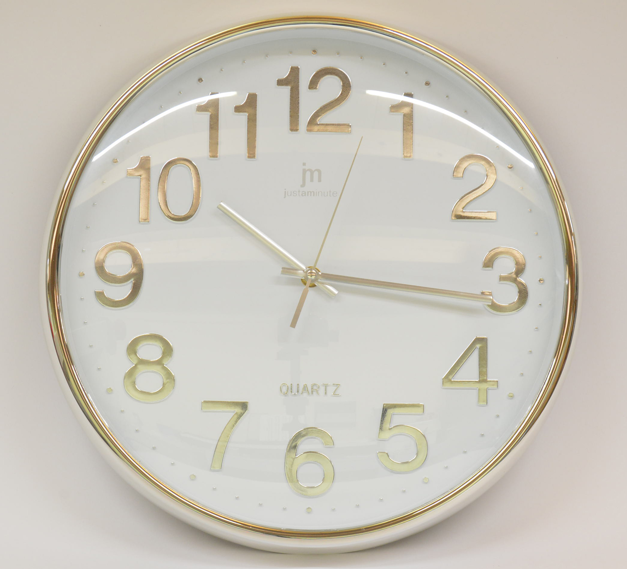 Orologio da parete JM diametro 35 cm art. 00816B Cromato Bianco
