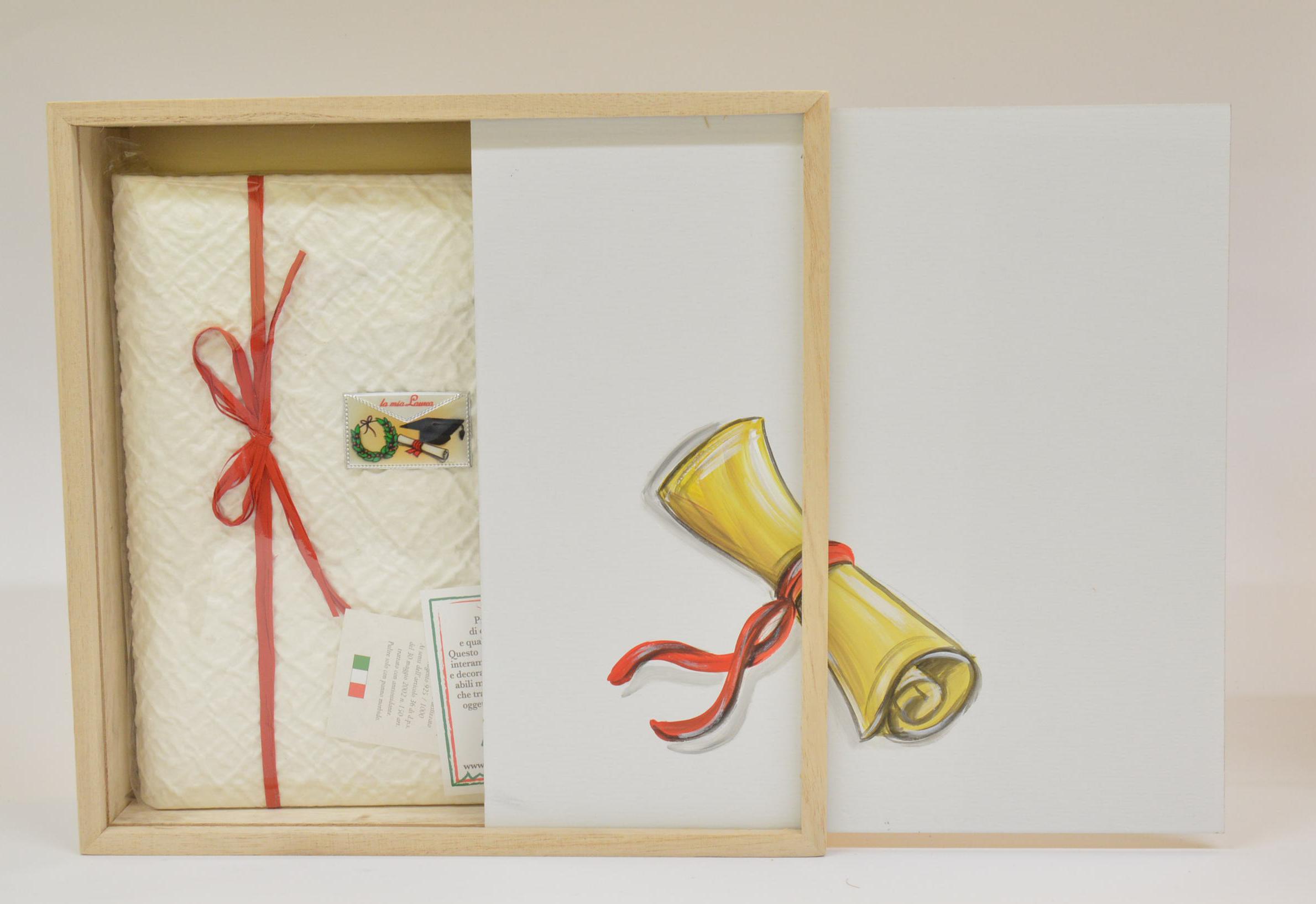 Album 25x25 30 fogli con velina art. BX11 Laurea con Box in legno Made in Italy dipinto a mano