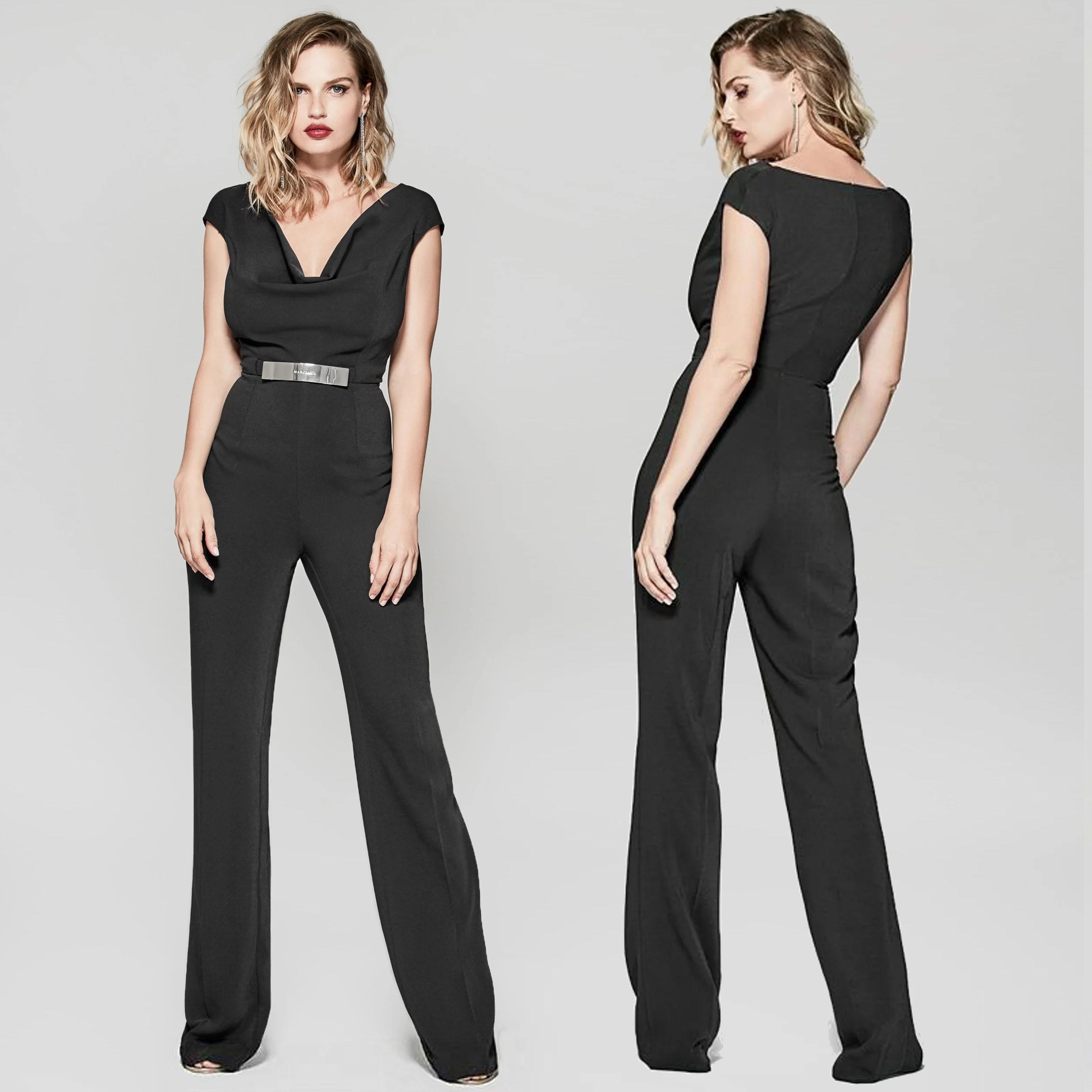 Overall tuta donna tutina jumpsuit elegante scollata